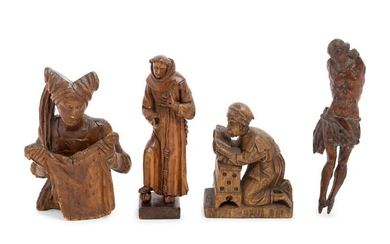Four Continental Carved Wood Figures