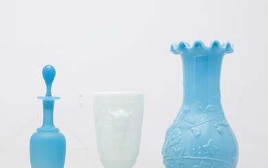 French goblet, bottle and vase in opalescent and blue glass, late 19th Century- early decades of the 20th Century.