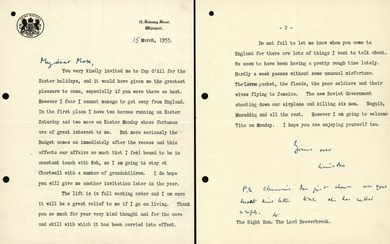 [Great Britain]. Churchill, W.S. (1874-1965). TYPESCRIPT LETTER SIGNED...