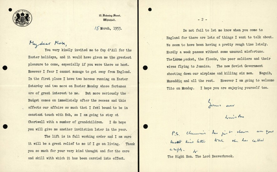 """[Great Britain]. Churchill, W.S. (1874-1965). TYPESCRIPT LETTER SIGNED """"Yours ever,..."""