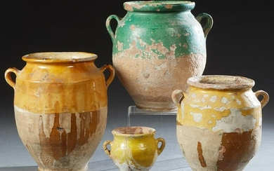 Group of Four French Provincial Partial Glazed Pottery