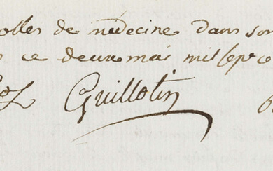 Guillotin (Joseph-Ignace), Philibert Borie & ?Coutaros. Joint Address to a meeting on the importance of proper care for newborn children in hospital, manuscript in French, some corrections, unbound, 2nd May 1788.