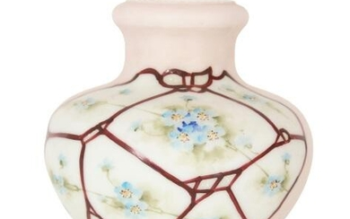 Hand Painted Glass Diminutive Footed Vase