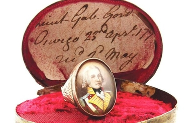IDENTIFIED BOXED 1795 DATED GOLD RING WITH PORTRAIT OF