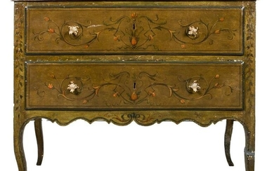 Italian Rococo Paint Decorated Commode