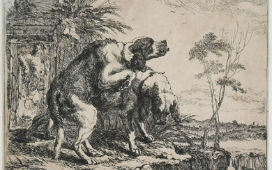 Jan Fyt (1611-1661) Etching, Two Dogs, 1642