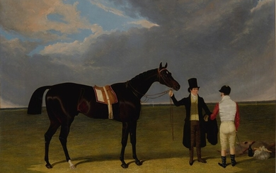 John Frederick Herring Snr., Mr. Wagstaff's The Saddler with Jockey and Trainer at Doncaster