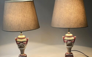 LAMPS, a pair, Dutch style tin glazed purple, yellow and gre...