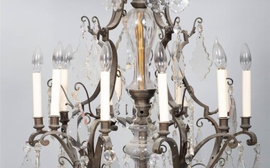 LOUIS XV STYLE CUT GLASS AND BRONZE CHANDELIER