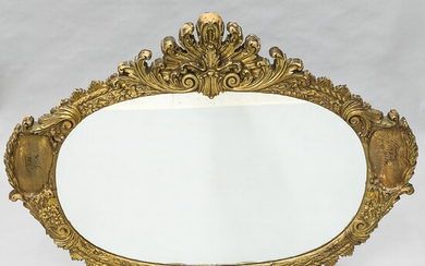 Large Neoclassical-style Carved and Gold-painted Composition Mirror