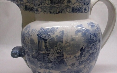 Large Victorian Staffordshire water jug, blue and white tran...