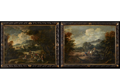 Late 18th century school Landscapes with hunting scenes Pair of paintings, oil on panel, 65x89 cm. Framed (defects and…Read more