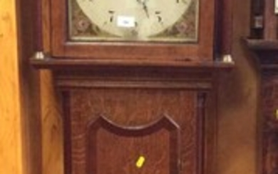 Late 18th/early 19th century longcase clock with 30 hour movement, 12inch painted break arch dial