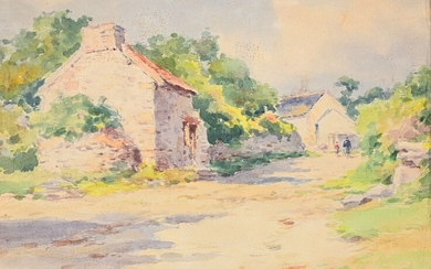 """Léon HAMONET (1877-1953) """"Lively country road, Erquy"""" watercolor sbd 22x30"""