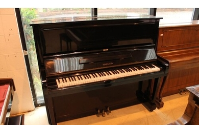 Markson (c1995) A 130cm upright piano in a bright ebonised c...