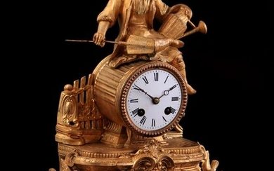 (-), Metal gold-coloured sprayed mantel clock with porcelain...