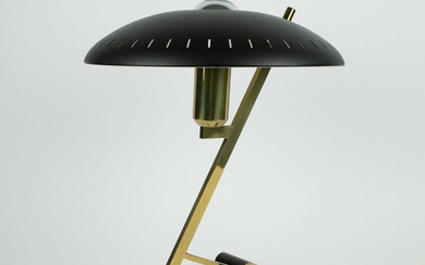 Model Z Lamp in Brass and Black Metal by Louis Kalff for Philips, 1950s