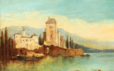 NOT SOLD. Painter unknown, 19th century: Summer day at an Italian lake. Unsigned. Oil on canvas. 41 × 56,5 cm. – Bruun Rasmussen Auctioneers of Fine Art