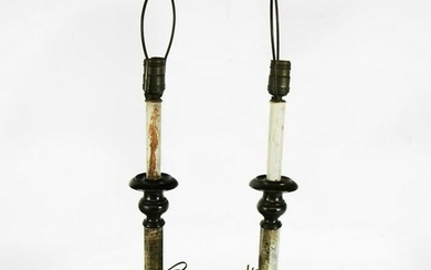 Pair Two-Tone Faux Marble Lamps