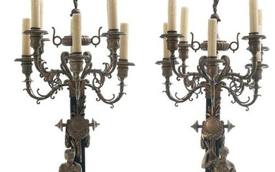 Pair of French Bronze and Marble Candelabra
