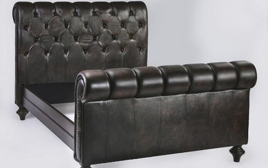 Ralph Lauren style tufted leather upholstered bed