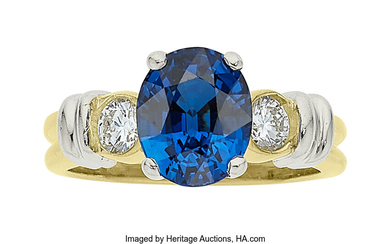 Sapphire, Diamond, Platinum, Gold Ring Stones: Oval-shaped sapphire weighing...