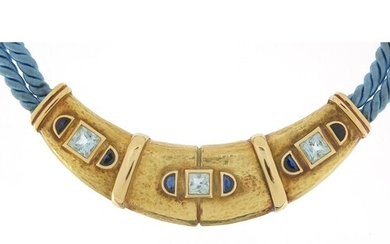 Scortecci, Italian unmarked gold and rope aquamarine and sap...