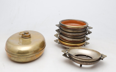 Set of four bowls in silvery metal and terracotta, set of teapot and coffee pot in silvery metal and heater in brass, second third of the 20th Century.