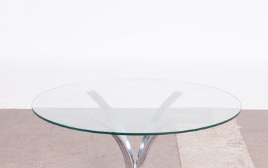 Table / coffee table, steel, glass, 1970s.