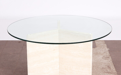 Table / coffee table, travertine, glass, 1970s.