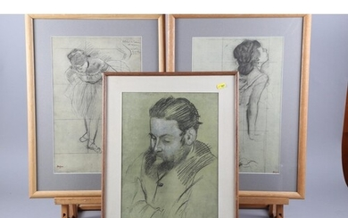 Three early 20th century colour prints after Degas, two danc...