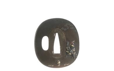 Tsuba (1) - Copper - Traveler and Dwarf - Antique Tsuba for Samurai Sword (T-222) - Japan - Edo Period (1600-1868)