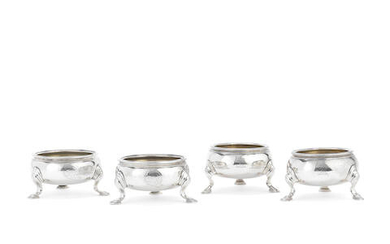 Two pairs of George II silver salts