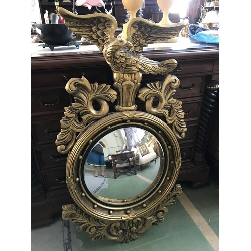Vintage Carved Wood Circular Concave Mirror with Eagle on To...
