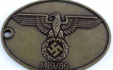 WWII GERMAN THIRD REICH SS POLICE ID DISC BADGE