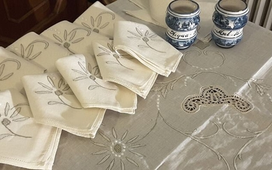 tablecloth with napkins - 250 x 165 cm (25) - fine woven fabric - 21st century