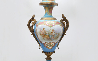 1746641. Large Sèvres-style porcelain vase with gilt bronze mount, late 19th Century-early 20th Century.