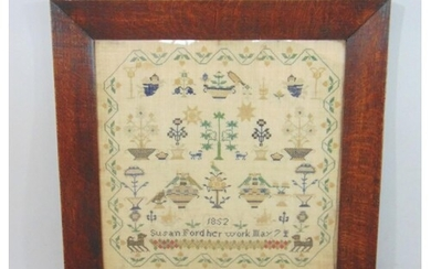 19th century needlework sampler dated 1852 and embroidered '...