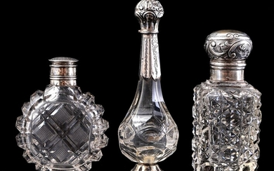 (-), 3 odor bottles with silver cap and...