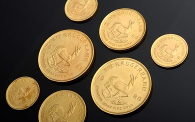 7 Various GG 916 Krugerrand coins 1/2, 1/4, and 1/10oz,...