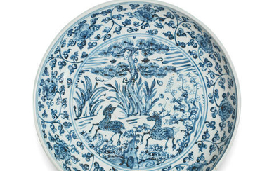 A BLUE AND WHITE 'DEER' DISH