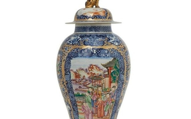 A Chinese Famille Rose blue & white covered vase