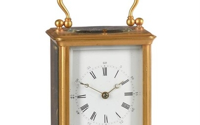 A FRENCH GILT BRASS REPEATING CARRIAGE CLOCK