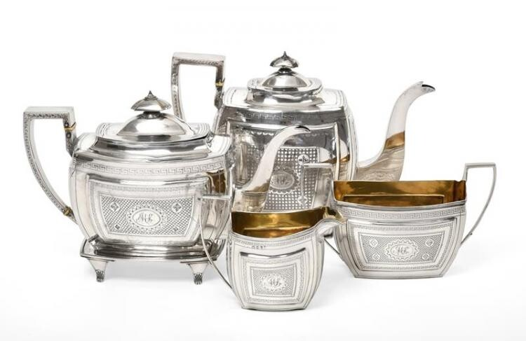 A Four-Piece George III Silver Tea-Service, by Duncan Urquhart and...
