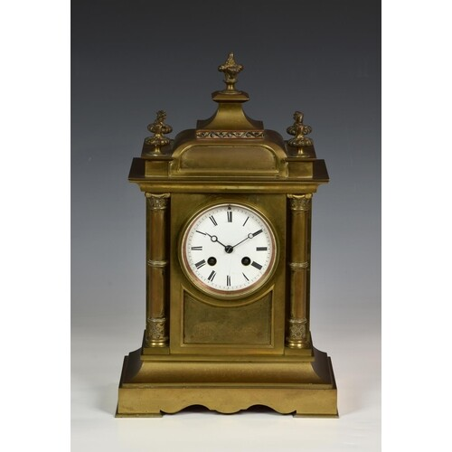 A French brass architectural mantel clock, 19th century, the...