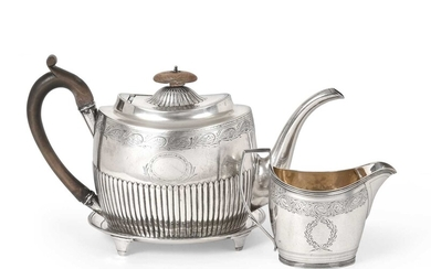 A George III Silver Teapot and Stand and an...
