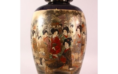 A LARGE JAPANESE LATER MEIJI PERIOD SATSUMA VASE - with two ...