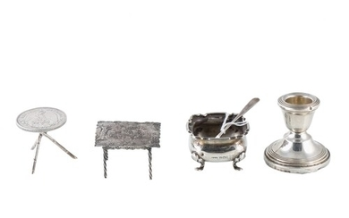A MISCELLANEOUS COLLECTION OF SILVER ITEMS, including two no...
