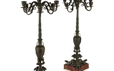 A PAIR OF LATE 19TH CENTURY FRENCH BRONZE AND MARBLE NEO-GRE...