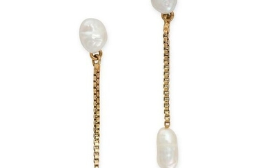 A PAIR OF PEARL DROP EARRINGS in yellow gold, each set
